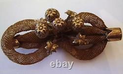 Victorian Mourning Hair Jewelry 4 Bulbs Bow Shape Broach Pin Leaf Antique